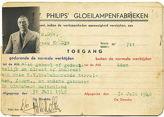 legitimatie philips dijs 1940